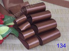 Лента атласная шириной 1см коричневая - 134