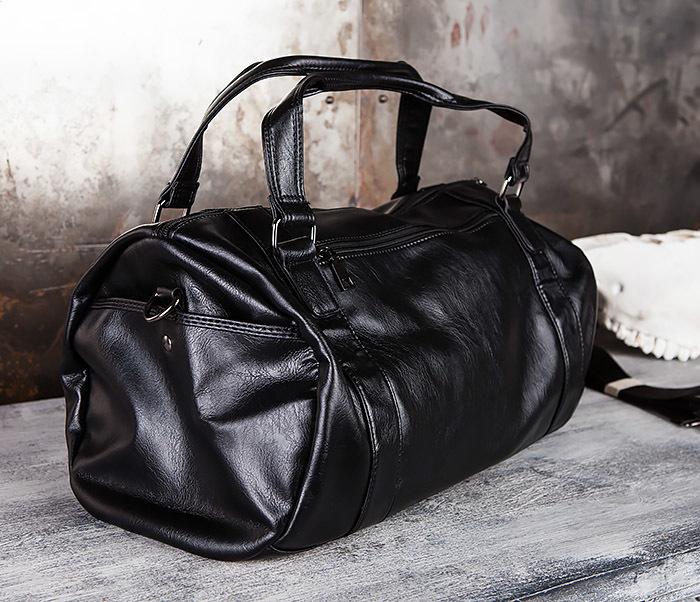 BAG429-1 Крутая кожная сумка - туба с ремнем на плечо фото 04