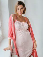 Евромама. Евромама. Комплект для беременных и кормящих двухцветный, рукав 3/4, коралл вид 1