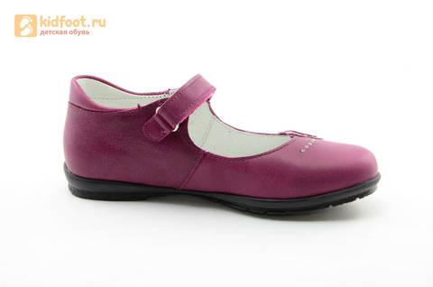 Туфли Тотто из натуральной кожи на липучке для девочек, цвет Лиловый,  10204C. Изображение 2 из 16.