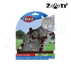 Trixie шлейка и поводок Premium для кошек и котов, коричневый