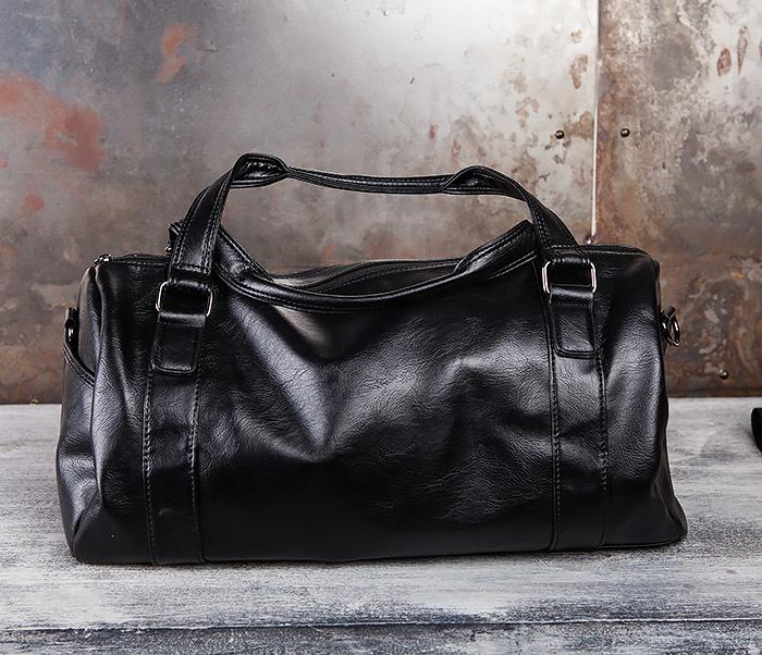 BAG429-1 Крутая кожная сумка - туба с ремнем на плечо фото 05
