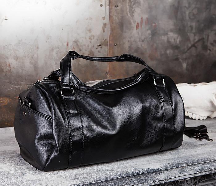 BAG429-1 Крутая кожная сумка - туба с ремнем на плечо фото 06