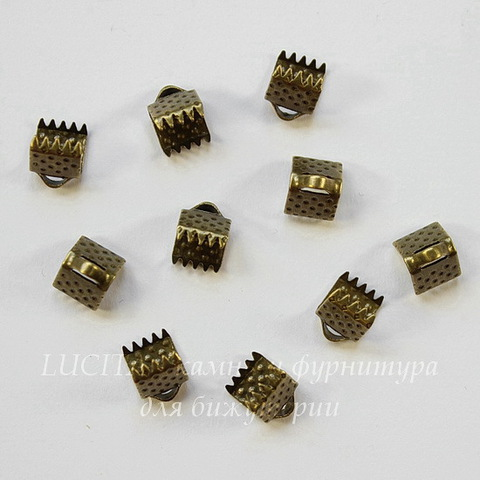 Концевик для лент 6 мм (цвет - античная бронза), 10 штук