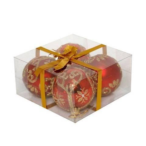Новогоднее украшение набор из 4 шаров, 7см, красный с рисунком, 696430