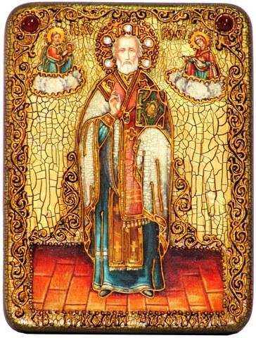 Инкрустированная икона Святитель Николай, архиепископ Мир Ликийский (Мирликийский), Чудотворец 20х15см на натуральном дереве в подарочной коробке