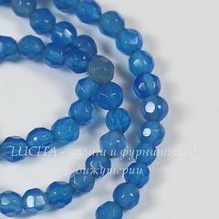 Бусина Агат голубой, шарик с огранкой, 4 мм, нить