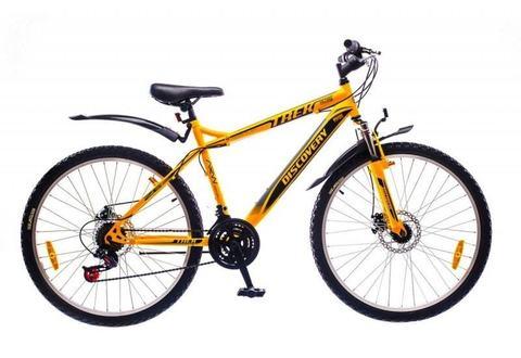 Желто-черный горный универсальный велосипед Discovery Trek DD 2016  (Дискавери Трек)