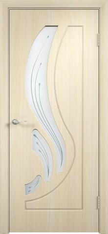 Дверь Сибирь Профиль Лилия, цвет беленый дуб, остекленная