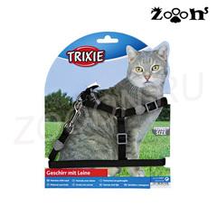 Trixie шлейка и поводок Premium для кошек и котов, черный