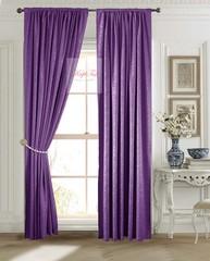 Длинные шторы. Лоран (фиолетовый). Шторы из стриженного бархата.