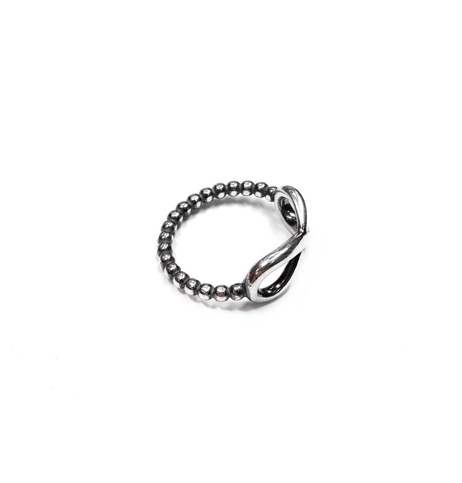 Infinity ring with spheres, sterling silver
