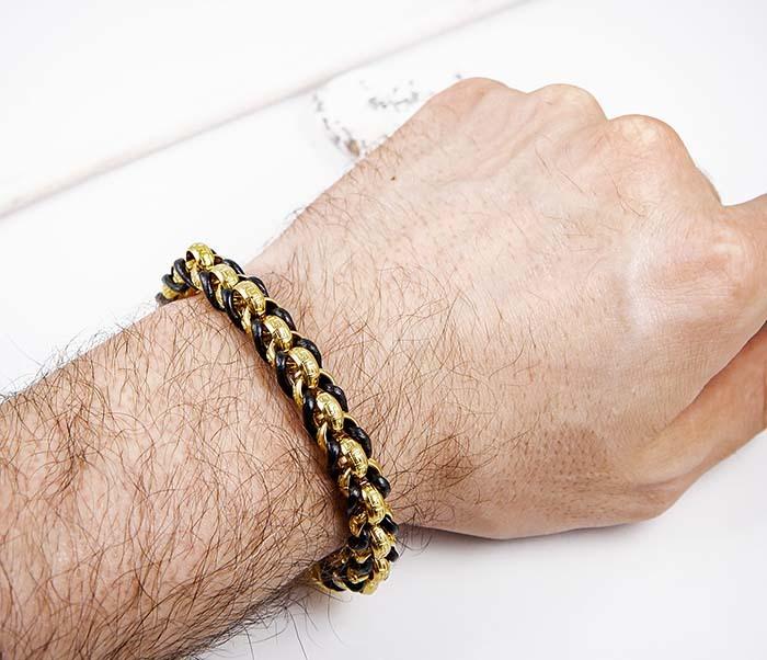 BM491-2 Браслет цепь золотого цвета с кожаным шнуром фото 07