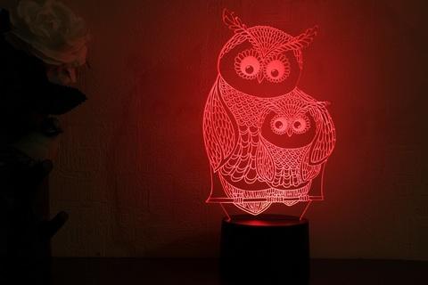 3D ночник Сова с совенком
