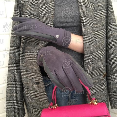 Женские перчатки Touch для сенсорных экранов на указательном пальце Серые Классика