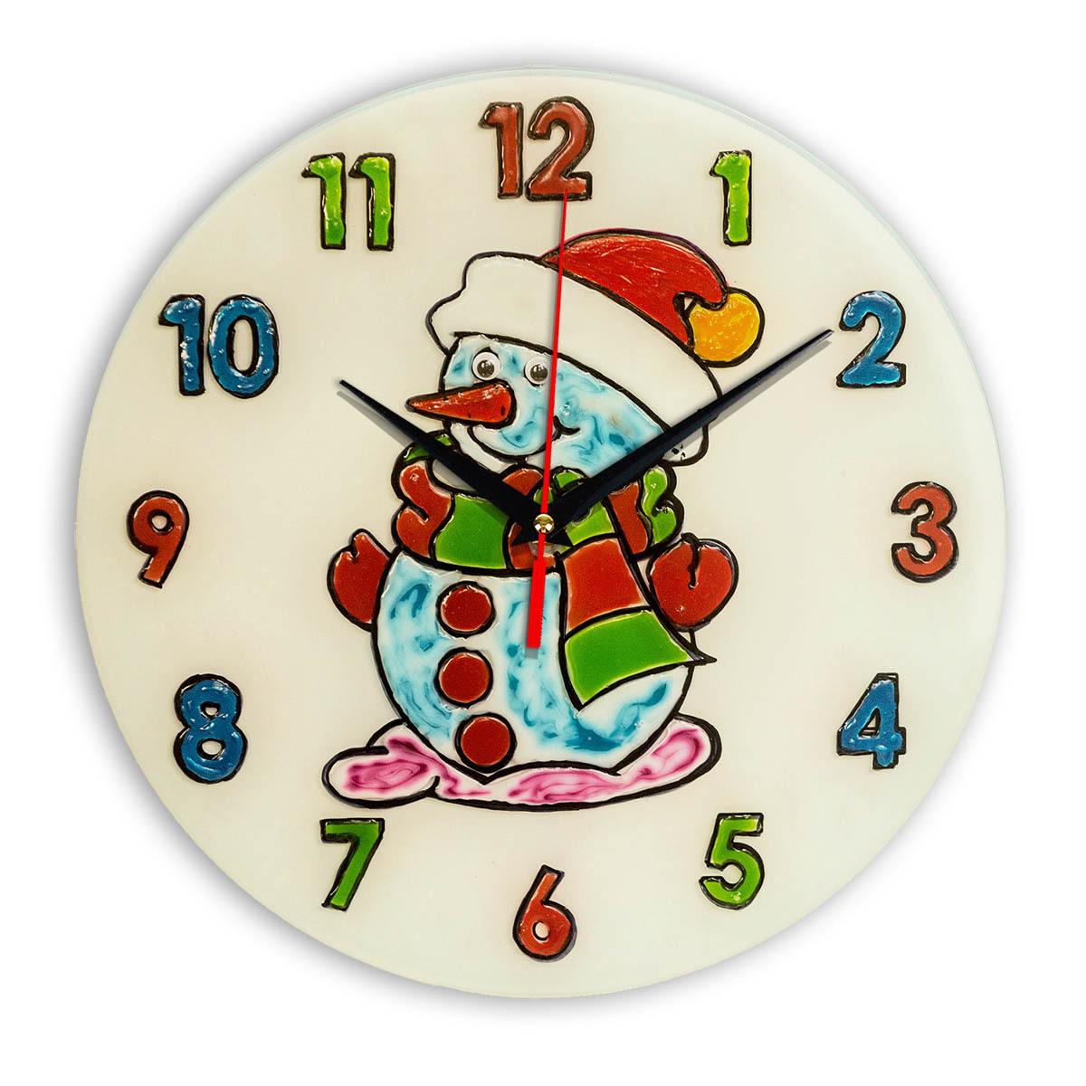 """Часы раскраска на стекле для детей """"Снеговик в шапке ..."""