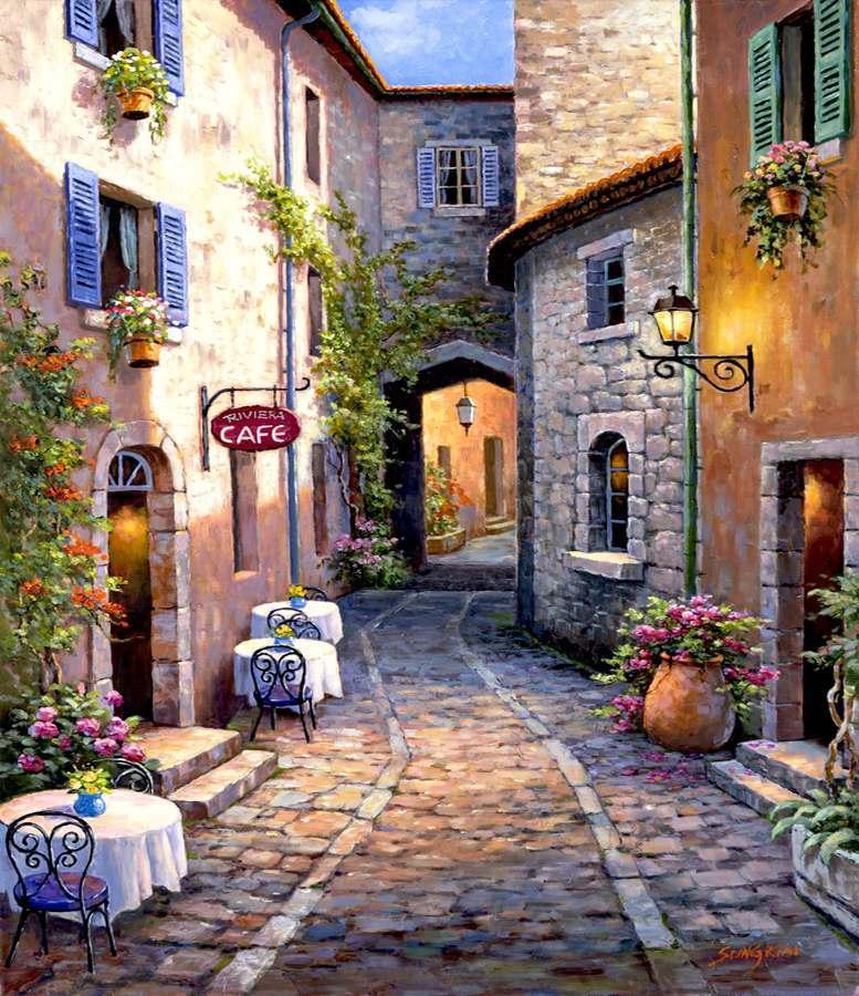 Картина раскраска по номерам 30x40 Кафе на узкой улочке ...