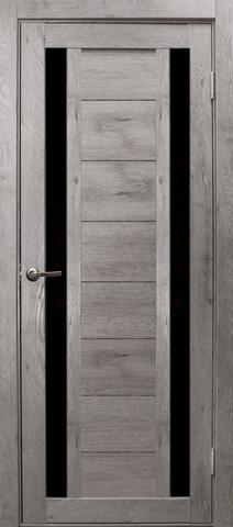 Дверь Эколайт Дорс Тандем, стекло чёрное лакобель, цвет дуб дымчатый, остекленная