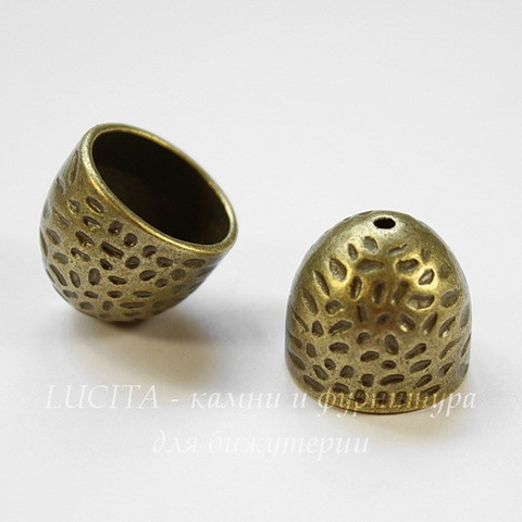 Концевик для шнура 13,5 мм, 16х14 мм (цвет - античная бронза)