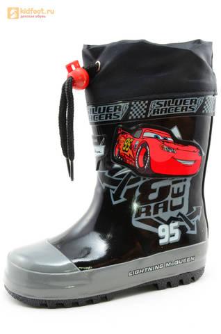 Резиновые сапоги Тачки (Cars) на шнурках для мальчиков, цвет черный. Изображение 1 из 10.