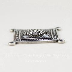 Винтажный декоративный элемент - коннектор квадратный (2-2) 23х23 мм (оксид серебра)