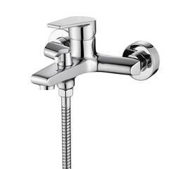 Смеситель для ванны и душа Kaiser (Кайзер) Eco 00022 однорычажный с лейкой и шлангом, настенное крепление, хром