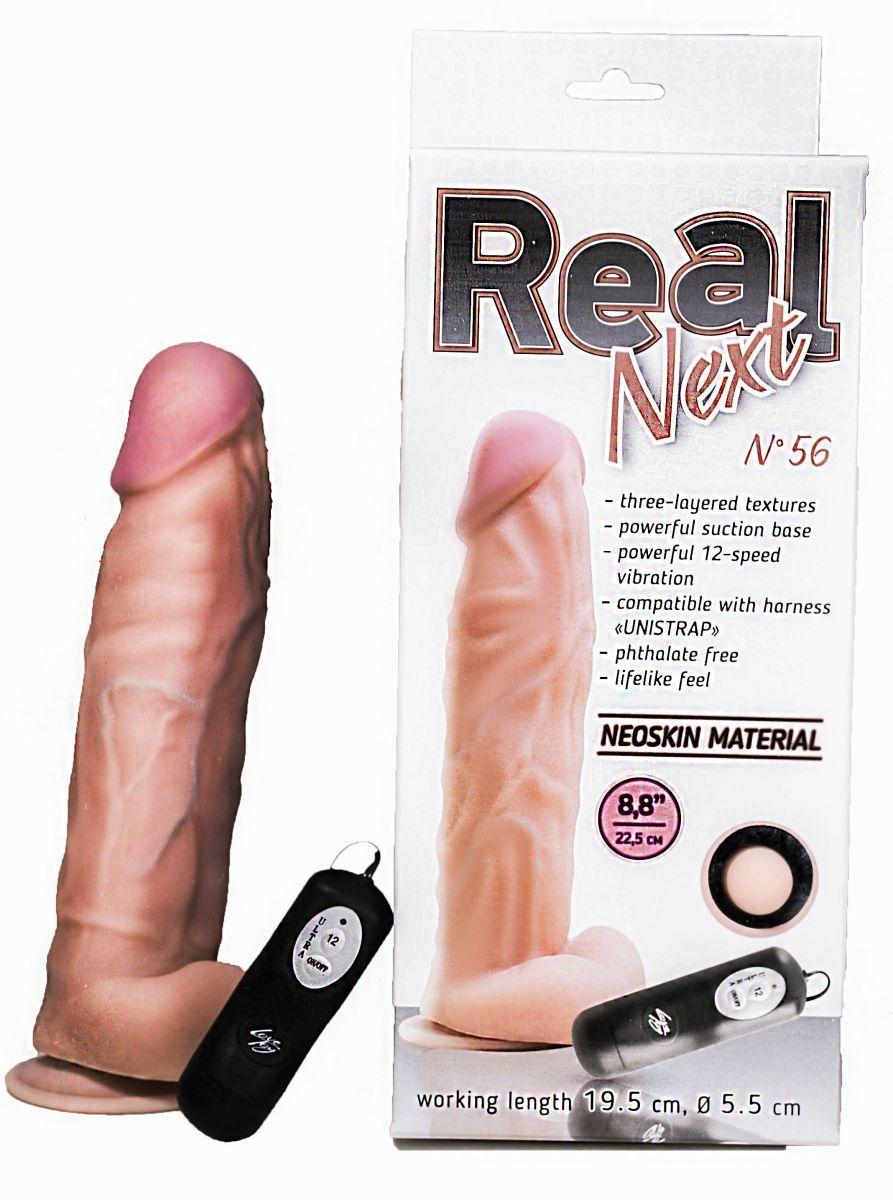 Реалистики: Большой вибратор с выносным блоком REAL Next №56 - 22,5 см.