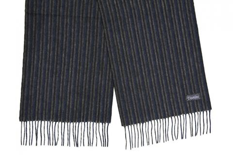 Шерстяной шарф черный в полоску 31391