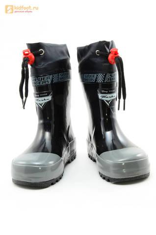 Резиновые сапоги Тачки (Cars) на шнурках для мальчиков, цвет черный. Изображение 5 из 10.