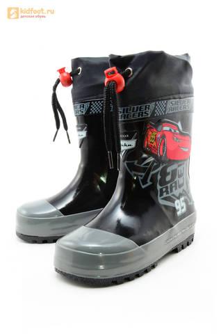 Резиновые сапоги Тачки (Cars) на шнурках для мальчиков, цвет черный. Изображение 6 из 10.