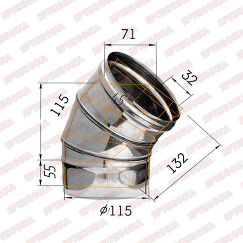 Отвод моно 135° d115мм (430/0,5мм) Ferrum