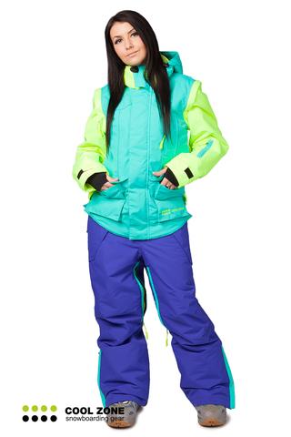 Сноубордический комбинезон Cool Zone 3в1 бирюза-синий женский