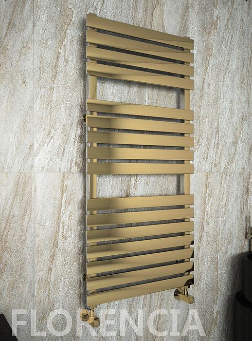 Florencia Bronze - бронзовый дизайн полотенцесушитель с прямоугольными горизонталями. бронза