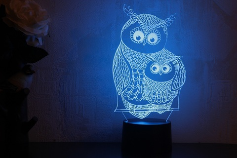 3D светильник Сова с совенком