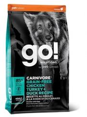 Корм беззерновой для взрослых собак всех пород, GO! Natural holistic, GO! CARNIVORE GF Chicken,Turkey + Duck Adult Recipe DF, 4 вида мяса: индейка, курица, лосось, утка