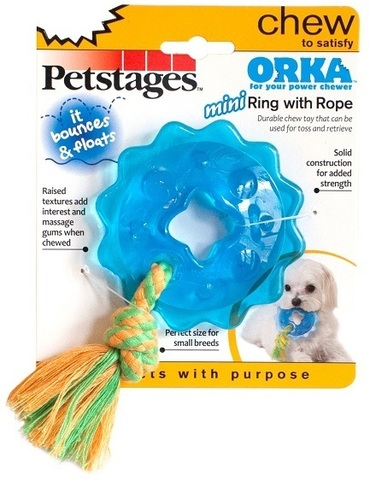 PETSTAGES MINI ORKA RING WITH ROPE