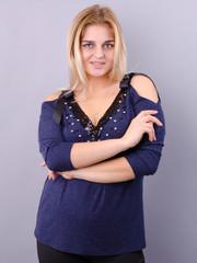 Феникс. Оригинальная блуза для больших размеров. Синий.