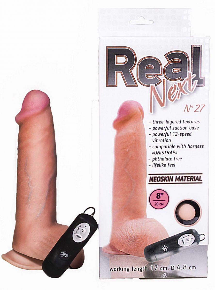 Реалистики: Телесный вибратор с выносным блоком REAL Next №27 - 20 см.