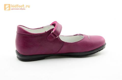 Туфли Тотто из натуральной кожи на липучке для девочек, цвет Лиловый,  10204C. Изображение 4 из 16.