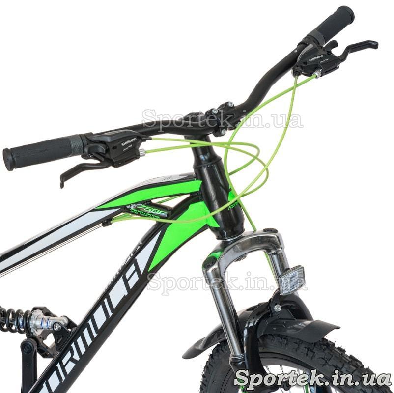 Руль, манетки и амортизационная вилка горного универсального велосипеда Formula Blaze DD