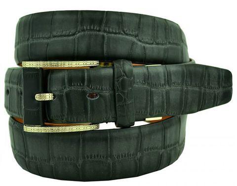 Ремень мужской брендовый брючный чёрный кожаный под крокодила 35 мм с жёлтой золотистой пряжкой Zilli 35Zilli-sale-004
