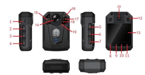 1.Разъем USB11.Подтверждение / Ок 2.Фото12.Reset / Сброс 3.Защита файла13.Дисплей 4.Включение фонарика14.Объектив 5.Включение записи видео15.Датчик освещенности 6.Включение записи аудио16.Световые индикаторы 7.Питание17.Вспышка 8.Меню / Ок18.ИК-подсветка 9.Вверх19.Микрофон 10.Вниз20.Динамик