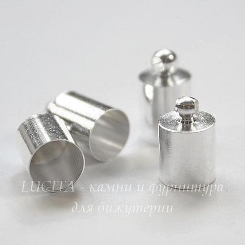 Концевик для шнура 6,5 мм, 11х7 мм (цвет - серебро), 4 штуки