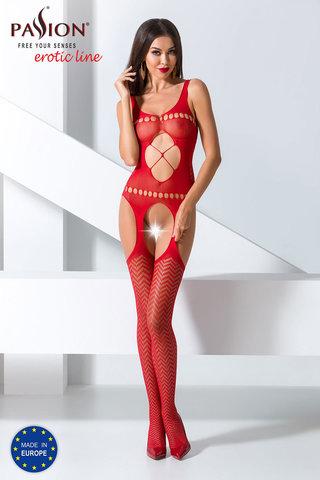 Боди-комбинезон сетка красный эротический