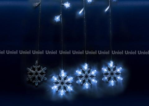 ULD-E2706-100/DTA WHITE IP20 SNOWFALL Занавес светодиодный фигурный с контроллером «Снегопад». 10 нитей. 100 светодиодов. Размер 2,7х0,6м. Цвет свечения белый. IP20. Провод прозрачный. Упаковка картон.