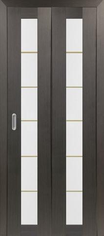 > Экошпон складная Optima Porte Турин 501АСС молдинг SG  (2 полотна), стекло матовое, цвет венге, остекленная