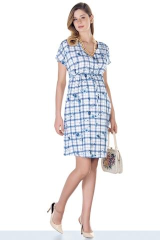 Платье 09433 синяя клетка