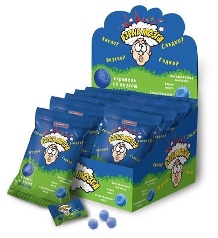 ВЗРЫВ МОЗГА карамель со вкусом голубики в пакете, 1кор*12бл*24шт 15г