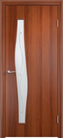 Дверь Сибирь Профиль Волна (с фьюзингом), стекло с фьюзингом, цвет итальянский орех, остекленная