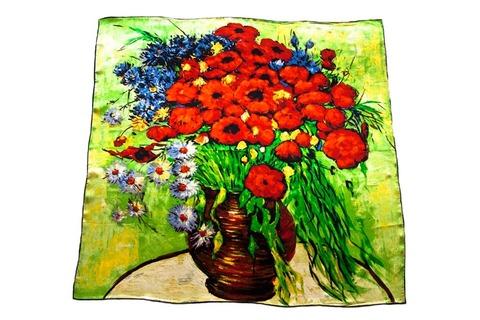 Итальянский платок из шелка картина цветы 1252